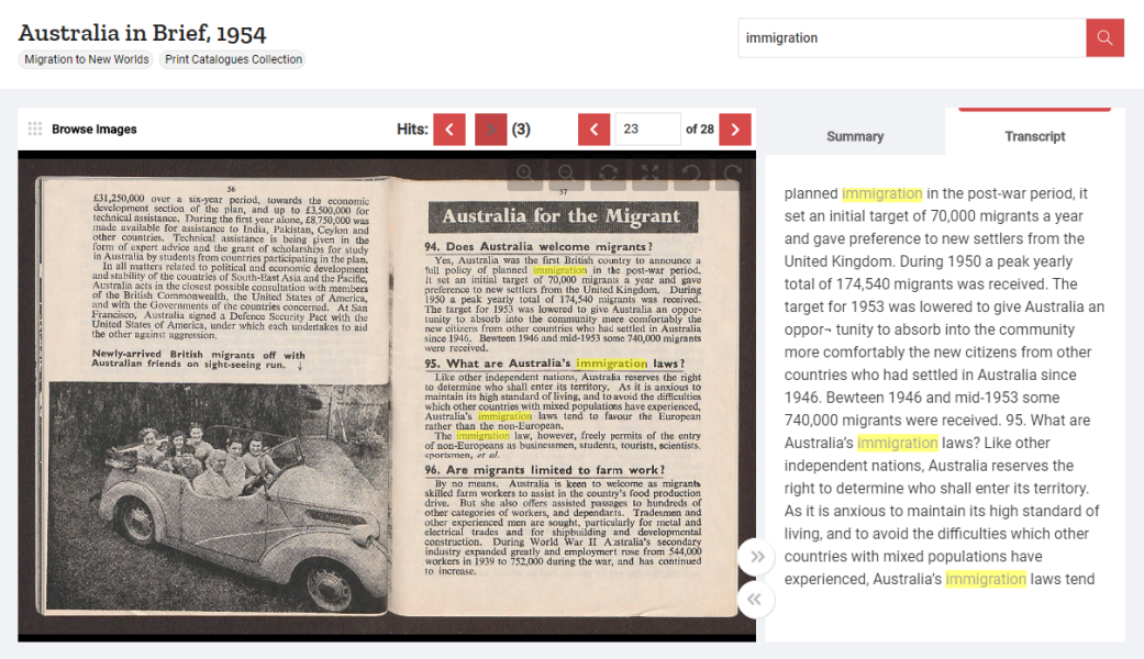 Highlighted search results for 'immigration' in a promotional brochure for Australia, 1954